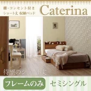 収納ベッド セミシングル【Caterina】【フレームのみ】ウォルナットブラウン ショート丈 棚コンセント付き収納ベッド【Caterina】カテリーナ B01EBVQ7HI