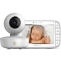 Motorola MBP 50 - Vigilabebés vídeo con pantalla LCD a color de 5.0, modo eco y visión nocturna, color blanco