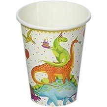 Entertaining with Caspari Paper Cups, 8 Pack of 9 oz Cups, Partysaurus