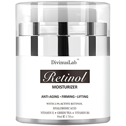 DivinusLab Retinol Moisturizer Cream - Perfect Anti Aging & Wrinkle Face Formula - With Hyaluronic Acid, Active Retinol, Vitamin E & Green Tea Extracts - Ideal For Day & Night Use 1.7 OZ (Miracle Tea Morning)