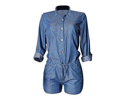 f0a71c7fbc36 Montmo Women Sexy Half Sleeve Denim Jeans Jumpsuit Bodysuit Shorts Romper  Playsuit (XL