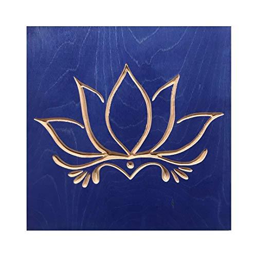 Amazoncom Blue Lotus Flower 12 X 12 Inch Home Decor Wood Wall Art