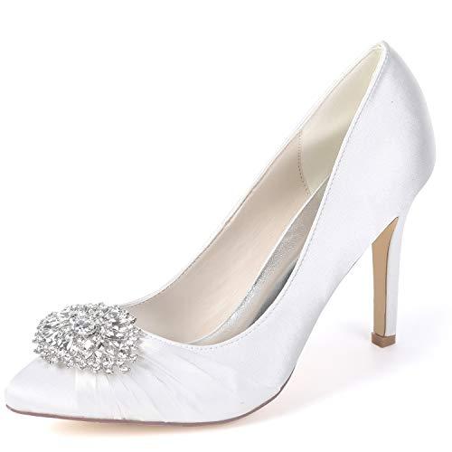 5cm Las 9 Boda White Classic Fy060 Mujeres yc Platform De Spool Tacones Satin Spring L Zapatos Party zFIvw