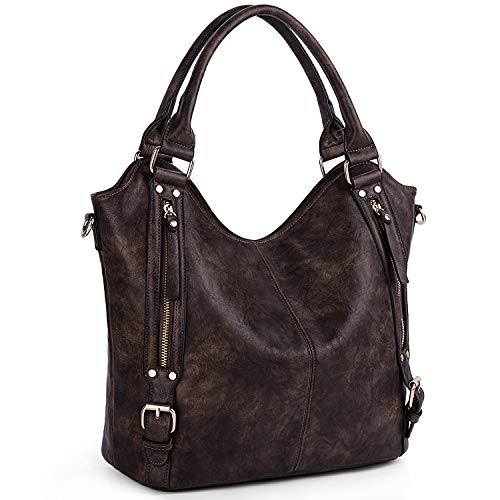 UTO Women Handbags Hobo Shoulder Bags Tote PU Leather Handbags Fashion Large Capacity Bags A Coffee