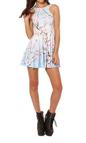 Girls White And Pink Reversible Tutu - Amoluv Women's Pleated Knee-length Cherry Blossom Pattern Reversible Skater Dress(White)