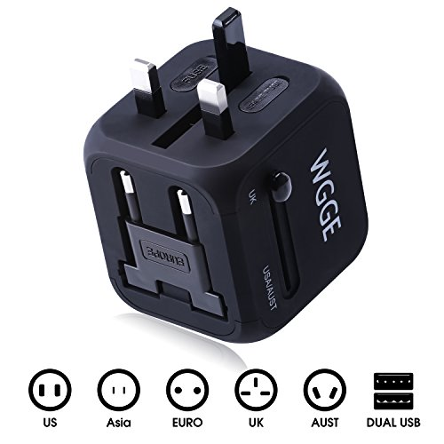 Travel Adapter,WGGE Multi-Nation Travel Adapter, All-in-one International Power Adapter with 2.4A Dual USB,Worldwide…
