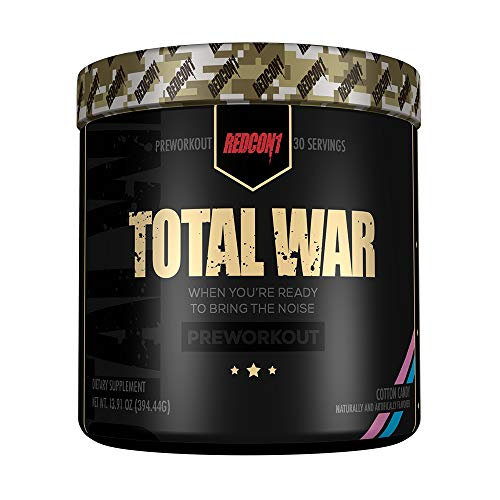 Redcon1 Total War - Pre Workout - 30 Servings - Newly Formulated (Cotton Candy)