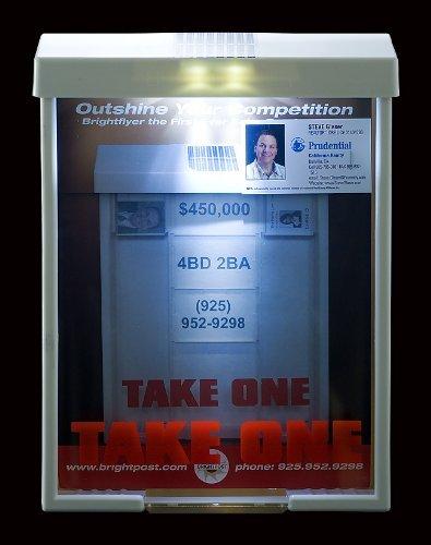 - White Solar Brochure Box Brightflyer Brochure Holder Flyer Box Outdoor Realtor Style Info Box Real Estate Marketing