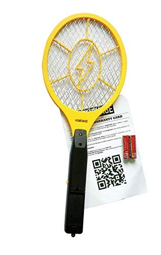(HOMEVAGE Electric Fly Swatter - Bug Zapper - Best High Voltage Handheld Mosquito Killer - Wasp, Fruit Fly, Insect Trap Racket For Indoor, Travel, Camping and Outdoor Control (2 AA Batteries Included))