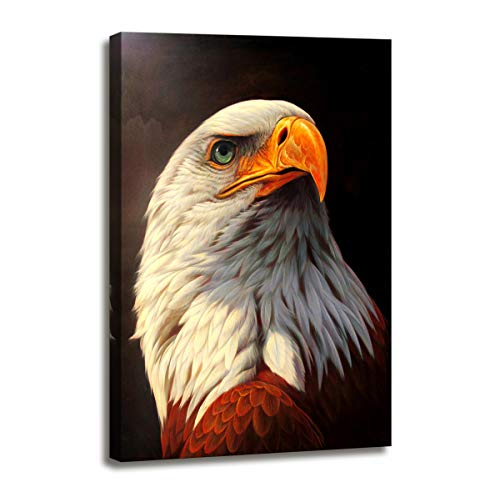 Wall Art for Bedroom Bald Eagle Painting Canvas Prints Black and White Modern Bedroom Office Wall Decor Animal Picture Prints on Canvas Wall Art Painting Framed Artwork for Walls Decoration 16x24inch ()