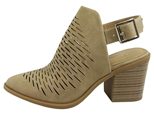 City Classified Women's Western Laser Cutout Caged Pointy Toe Ankle Bootie (10 B(M) US, Camel PU)