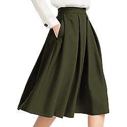 Yige Women's High Waisted A line Skirt Skater Pleated Full Midi Skirt Green US2