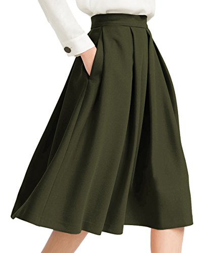 Yige Women's High Waisted A line Skirt Skater Pleated Full Midi Skirt Green US2