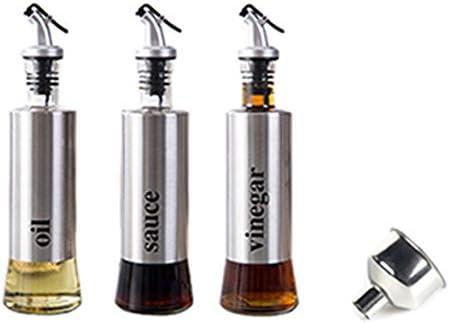 Tamkyo 300 MLキッチンガラスオイルディスペンサー ステンレス鋼漏れ防止醤油酢調味料ボトルストレージボトルキッチン用品
