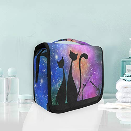 (Toiletry Bag Cat Galaxy Nebula Roof Hanging Organizer Bag Wash Gargle Bag Cosmetic Bag Portable Makeup Pouch with Hanging Hook)