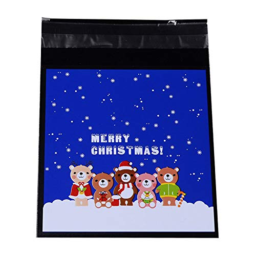 PH PandaHall 1 Bag Christmas Sealing Cellophane Bags Cartoon Flat Cello Wrap Flap Resealable Bags Cellophane Favor Blue Treat Bag for Christmas Candy Cookie Bakery Jewelry Retail Party Gifts - Bags Flat Cartoon
