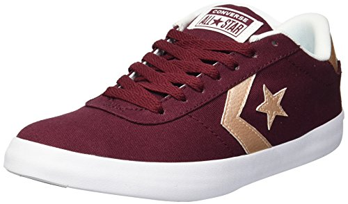 Converse Women's Point Star Low Top Sneaker, Dark Burgundy/White/Peach, 6 M US