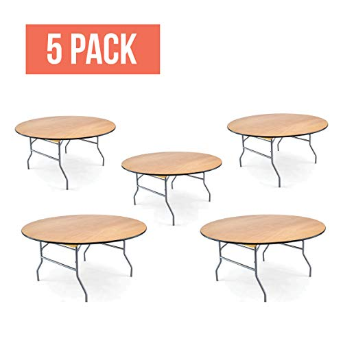 EventStable Titan Series Wood Folding Table - 60'' Round - 5 Pack (Banquet Table Series Folding)