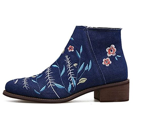 Embroidery Flat Pointed Martin New Female Female Boots Boots Boots Rough With Denim DarkBlue Bare 5Yq8wqCd