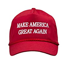 MAKE AMERICA GREAT AGAIN! Trump 2016 Adjustable Cap with Rope Front, EMBROIDERED Text