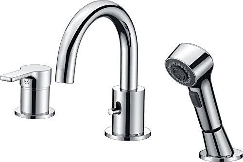 CREA Bathroom Faucet, 3 Hole Brass Bathtub Vanity Basin Sink ...