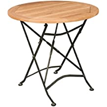 HiTeak Furniture Teak Bistro Round Table With Iron Legs