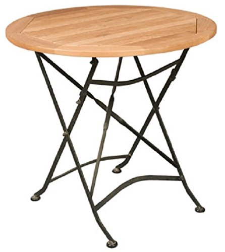 HiTeak Furniture Teak Bistro Round Table with Iron Legs (Plantation Outdoor Furniture Parts)