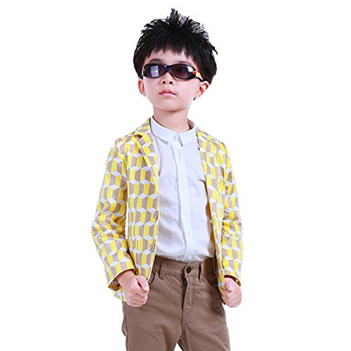 OnlyAngel Boys Fashion Plaid Party Suit Blazer Jacket Outerwear Coat 3-13 Years (3-4 Years) (Boy Blazers On Sale)