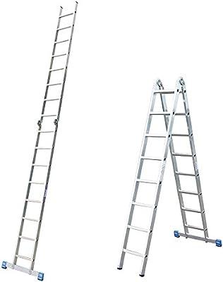 LEH541 Escalera Articulada Doble, 2 x 8 Peldaños, 4.5 m / 2.25 m Altura Escalera, 4.65 m / 2.35 m Longitud: Amazon.es: Industria, empresas y ciencia