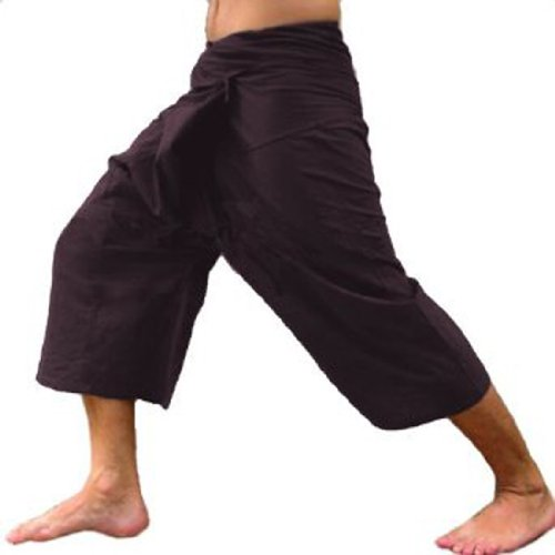 Dark Brown Toray - 3/4 Men Women Thai Fisherman Pants  Yoga Trousers by Thai Spicy Free Size (Ladies Police Tie Front Shirt)
