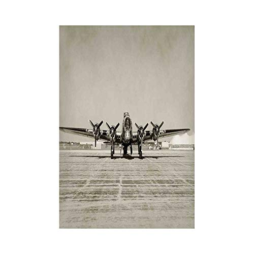 Polyester Garden Flag Outdoor Flag House Flag Banner,Airplane Decor,World War II Era Heavy Bomber Front View Old Photo Flying history Takeoff Aeronautics Decorative,,for Wedding Anniversary Home Outdo