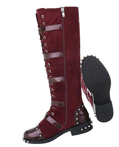Damen Schuhe Stiefel Nieten Schnürer Weinrot