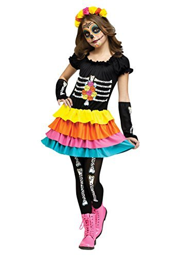 Fun World Dia De Los Muertos Costume, Medium 8 - 10, Multicolor -