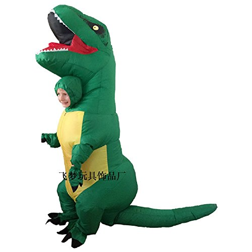 Kids T-Rex Dinosaur Inflatable Costume Halloween Cosplay Blow Up Suit Fancy Dress Outfit for Child (S, Green B) ()
