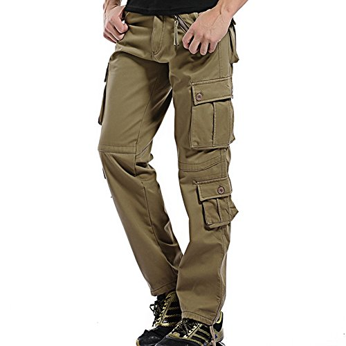 NiuZi Men's Fleece Lined Cotton Cargo Pants Casual Camo Combat Work Pants (Khaki, 36) Cotton Lined Work Pants