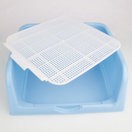 Portable Plastic Indoor M Size Dog Toilet Potty with Fenced for Pet Dog Cat (Blue)