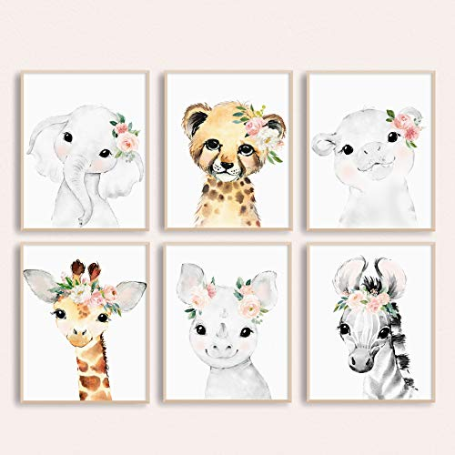 Adoren Studio Nursery Wall Art for Baby Girl - Baby Safari Animal Floral Art Prints - Blush Nursery Decor - Baby Girl Wall Decor ()