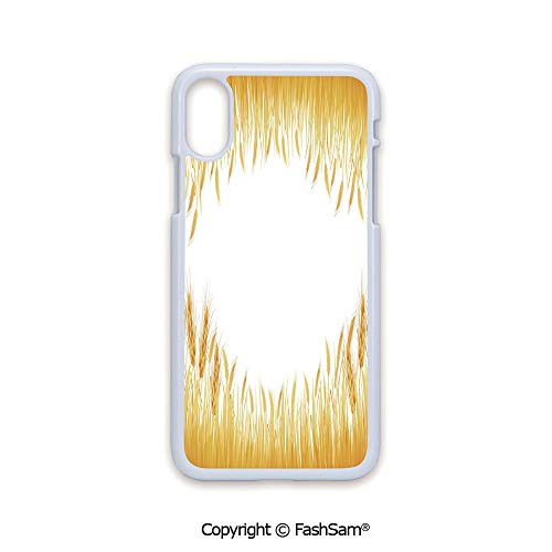 Phone Case Compatible with iPhone X Black Edge Crop Rice Field Frame Cereal Bread Seasonal Farmland Flour Food Theme 2D Print Hard Plastic Phone Case