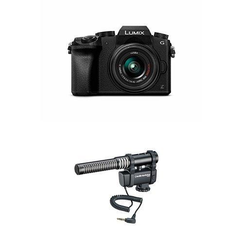 Panasonic LUMIX DMC-G7KK DSLM Mirrorless 4K Camera, 14-42 mm Lens Kit (Black) w/ Audio-Technica AT8024 Stereo/Mono Camera-Mount Microphone
