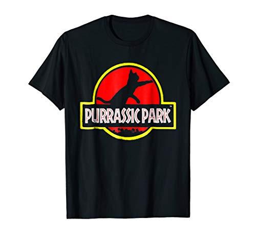 (Jurassic Tees - Funny Purrassic Park Cat Tee Shirt.)