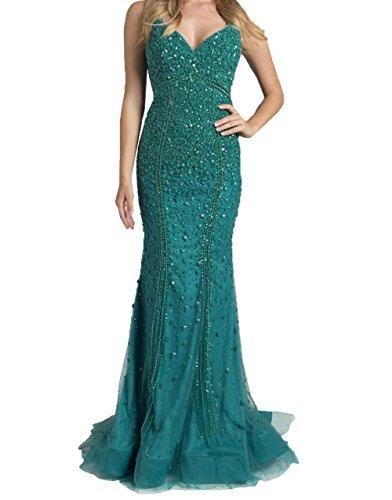 2018 Charmant Neu Gruen Steine Luxurioes Meerjungfrau Damen Jaeger Festlichkleider Promkleider Abendkleider Still Ballkleider wBrq5wU