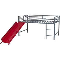 DHP Junior Twin Metal Loft Bed with Slide, Multifunctional Design, Silver with Red Slide