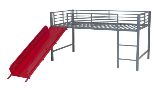 DHP Junior Twin Metal Loft Bed with Slide, Multifunctional Design, Silver with Red (Junior Twin Futon)