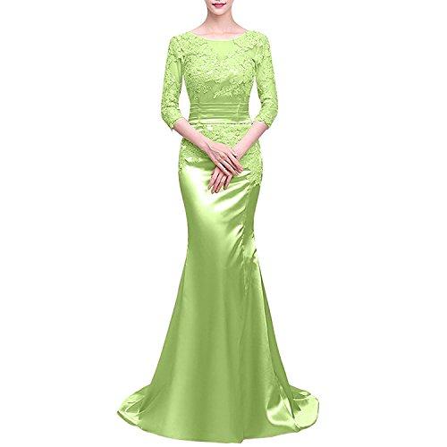 Hell Charmant Langarm Partykleider Abendkleider Abschlussballkleider mit Meerjungfrau Damen Gruen Ballkleider Satin TnqSnfzwp