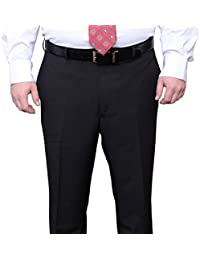 Portly Fit Black Pinstriped Flat Front Washable Dress Pants