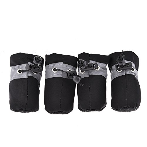 (4Pcs Small Dog Shoes Soft Breathable Anti-slip Pet Sport Shoes Adjustable Waterproof Fleece-lined Warm Paw Protector With Reflective Strip for Small Dogs)