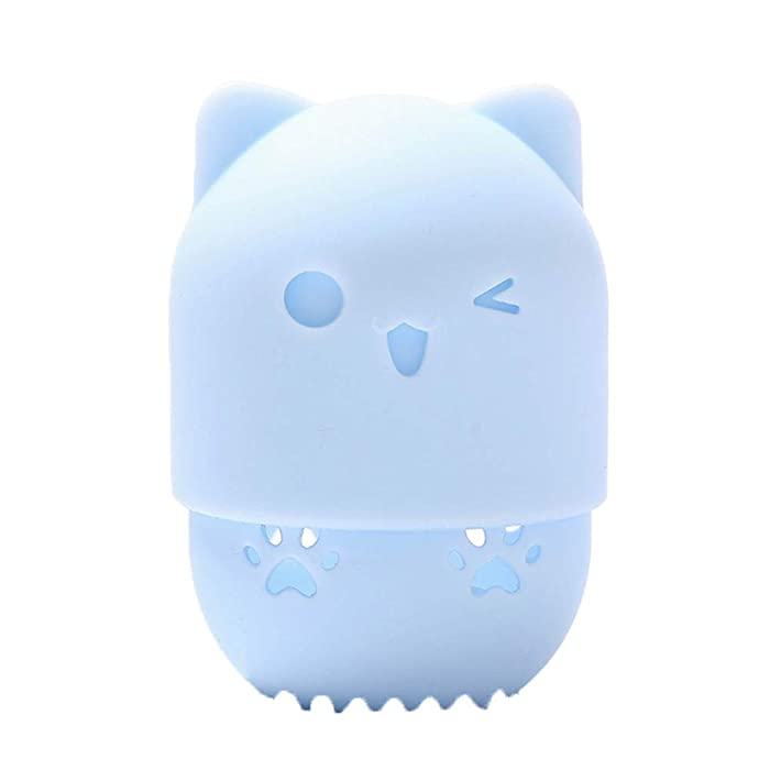 1PC Silicone Makeup Sponge Holder Cat Shaped Travel Case Foundation Sponge Protective Carrying Case Beauty Blender Holder Capsule Cosmetic Sponge Drying Rack(Blue)