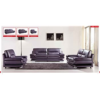 ESF Modern 2757 Full Purple Italian Leather Sofa Set Contemporary Style