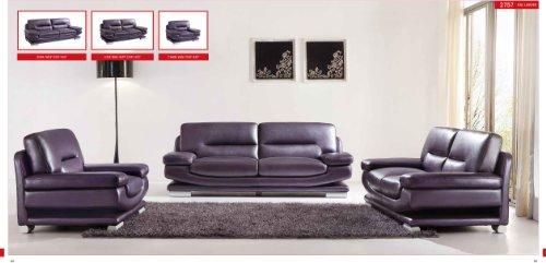 (ESF Modern 2757 Full Purple Italian Leather Sofa Set Contemporary Style)