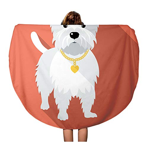 Semtomn 60 Inches Round Beach Towel Blanket Westie Dog West Highland White Terrier Standing Flat Amusing Travel Circle Circular Towels Mat Tapestry Beach Throw